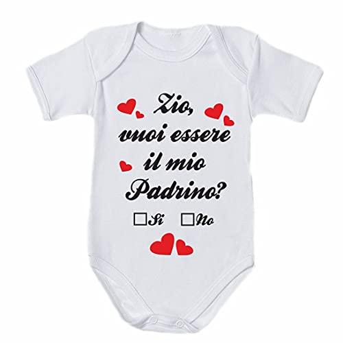 NEW LUPETTO Body tutina bambino bambina zio vuoi essere il mio padrino - Bianco, 06 MESI