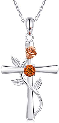 BlingGem Cross Necklaces for Women 925 Sterling Silver Birthstone Necklace Rose Cross Pendant 5A Cubic Zirconia 12 Birth Months Jewelry Anniversary Birthday Gift for Women Girlfriend Wife