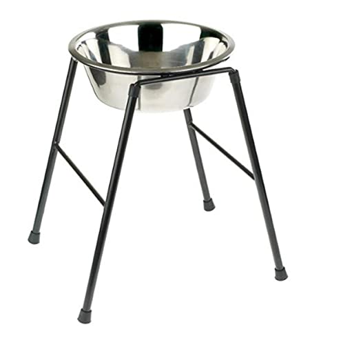 Classic Pet Products mangeoire simple sur support haut avec plat en acier inoxydable de 2500 ml, hauteur 370 mm