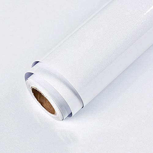Självhäftande tapet glitter vit 60 cm x 5 m klibbig baksida plastrulle vattentät skala och klistra vinylfilm för skåp kök sovrum möbler hyllfoder bord lätt att installera och ta bort