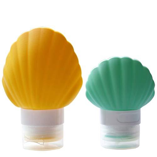 Cabilock 2 Pcs Voyage Bouteille Squeeze Set Shell Forme Lotion en Silicone Trousse De Toilette Petit Maquillage sous Emballage Bouteille pour Femmes Dames (Couleur Aléatoire) (40 ML 90 ML)