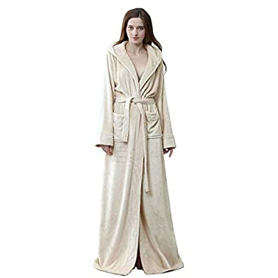 Hellomamma Luxurious Long Hooded Robe for Women Men Fleece Full Length Bathrobe with Hood Winter Warm Housecoat Sleepwear