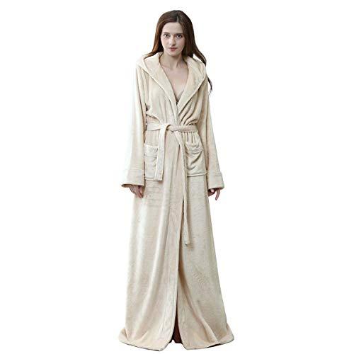 Long Hooded Robe for Women Luxurious Flannel Fleece Full Length Bathrobe Winter Warm Pajamas Shower Nightgown Beige