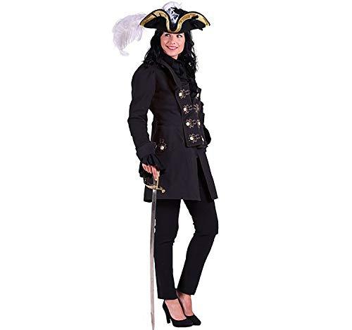 Unbekannt Damen Mantel schwarz Historische Kostüme Piratin Adlige Militär Fasching (XS)