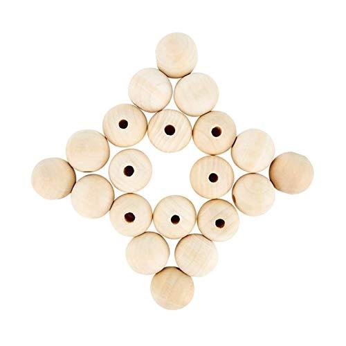 RJJX 120 unids Natural Grandes Cuentas Redondas artesanías, 25 mm Perlas de Madera Agujeros Grandes 6 mm Crafts DIY Beads de Madera para la producción de joyería (Color : Wood Color)