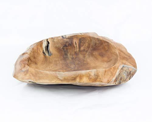 Rococo Bol Grande de Madera artesana de árbol de Teca, Acabado Natural (50cm)