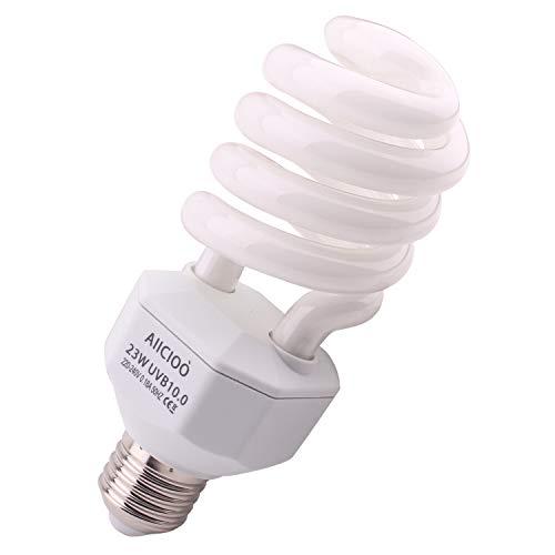 AIICIOO UVB Lampe Terrarium UVB Compact Lampe für Reptil Schildkröte Eidechse Sukkulenten Förderung der D3-Synthese Hilfe Erhöhen Sie die Kalziumabsorption E27 220-240V 10.0 23W