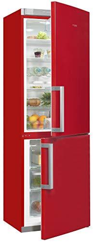 Exquisit Kühl- und Gefrierkombination KGC35-H-280E rot | Standgerät | 298 l Volumen | Rot