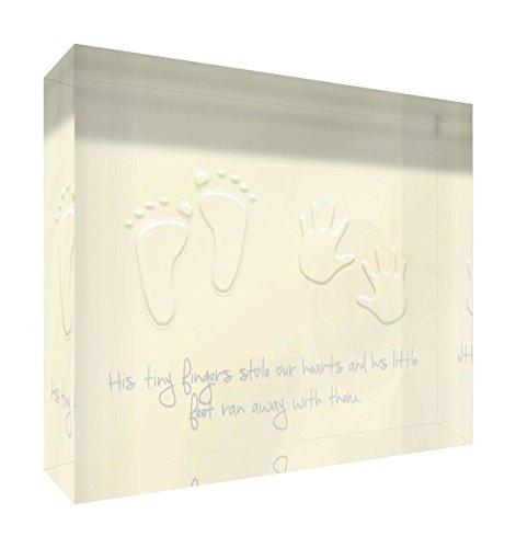 Feel Good Art Jeton en acrylique poli diamant 10,5 x 14,8 x 2 cm Taille M Crème, Ses petits pieds volaient nos coeurs)