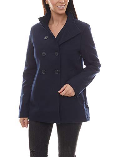 Melrose Jacke Zipper stylischer Damen Kurz-Mantel mit Stehkragen Freizeit-Jacke Winter-Jacke Blau, Größe:38