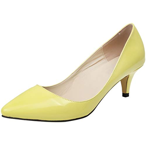 Wealsex Damen Pumps High Heels Lack Stilettos spitz Schuhe Elegante Brautschuhe(Gelb,Etikett 42= EU 41)