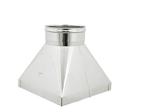 Toldo para chimenea de acero inoxidable (DN 180 base 300 x 300)