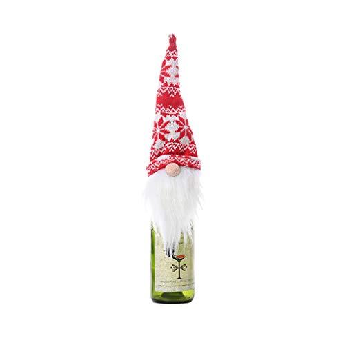 Wanghuaner Atractivo Navidad Gnomo Sueco Muñeca Vino Tinto Champán Botella Cubierta de Copos de Nieve Festival Decoración de la Mesa-A