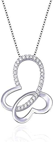BACKZY MXJP Collar Joyería De Moda Circón Plateado Collar De Mariposa Hueco Simple Colgante Cadena De Clavícula Corta Colgante