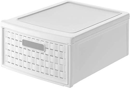 Rotho Country, Cajón de 8.3 litros con un cajón en apariencia de ratán, Plástico PP sin BPA, blanco, klein, 8.3l 35.0 x 26.0 x 14.5 cm