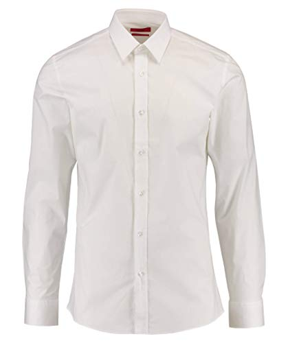 HUGO Elisha01 T-Shirt À Manches Longues, Blanc (Open White 199), Large (Taille Fabricant: 44) Homme