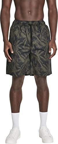 Urban Classics Herren Shorts Pattern Resort, Mehrfarbig (Palm/Olive 01692) W(Herstellergröße: L)