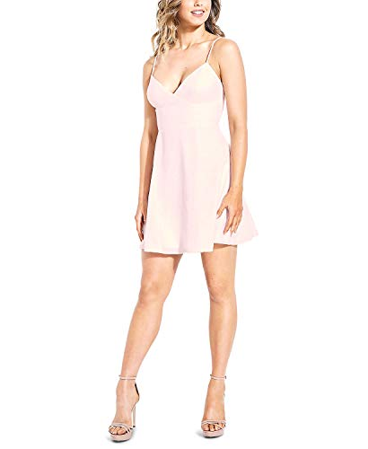 GUESS Womens Embroidered Sweetheart Mini Dress Pink L