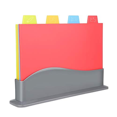 Viesap Tablas De Cortar, 4-Unidades Tabla De Cortar Cocina con Soporte Estuche para Guardarlas Y Código De Color, Set Tablas De Cortar Cocina Polietileno Tabla De Cortar Pan Tabla De Cortar Plastico.