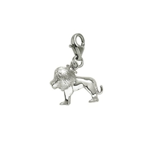 Sterling Silver Lion Charm With Lobster Claw Clasp, Charms for Bracelets and Necklaces