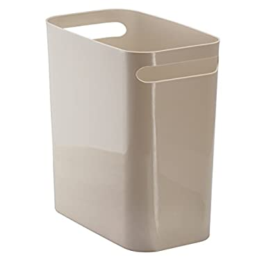 mDesign Slim Rectangular Small Trash Can Wastebasket, Garbage Container Bin with Handles for Bathrooms, Kitchens, Home Offices, Dorms, Kids Rooms — 12 inch high, Shatter-Resistant Plastic, Taupe