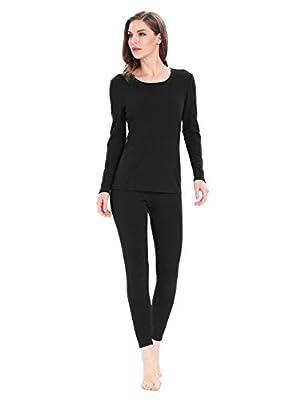 Thermal Underwear for Women Base Layer Fleece Thermal Long Underwear Ladies Long John Set (Black, L)