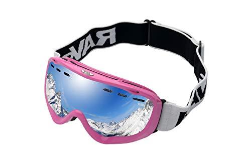Alpland skibril, sneeuwbril, snowboardbril, glas, zilver, gespiegeld, frame glanzend roze