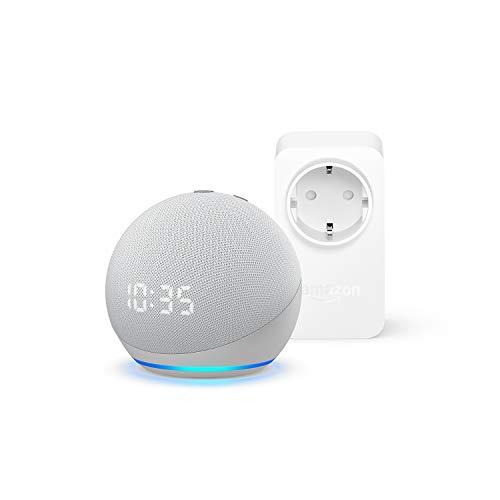 Echo Dot (4.ª generación) con reloj, Blanco + Amazon Smart Plug (enchufe inteligente WiFi), compatible con Alexa