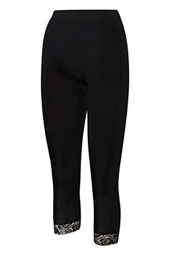 Kendindza Damen 3/4 Capri-Legging Kurze Sommer-Legging mit Spitze (Schwarz, L/XL)