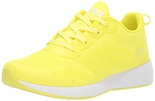 Skechers BOBS Women's Bobs Squad-Glow Rider Sneaker, neon Yellow, 9 M US