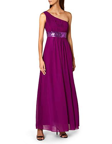 Astrapahl Damen Kleid One Shoulder mit Pailletten, Maxi, Gr. 40, Violett (Purple)