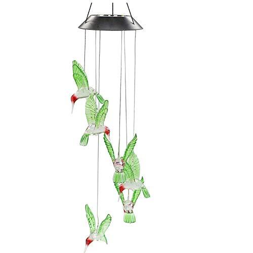 SYWAN Solar-Windspiel mit wechselnden Farben, Kolibri, solarbetriebene LED-Hängelampe, Windspiel, Licht für drinnen und drinnen