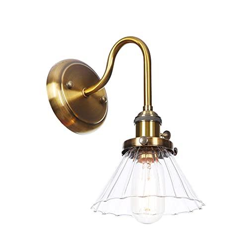 UWY Lámpara de Pared con Aplique de Vidrio Simple de Estilo nórdico, lámpara de Pared con Soporte de Metal de Estilo Moderno para Dormitorio, Sala de Estar, Pasillo, Hotel (Bronce Dorado)