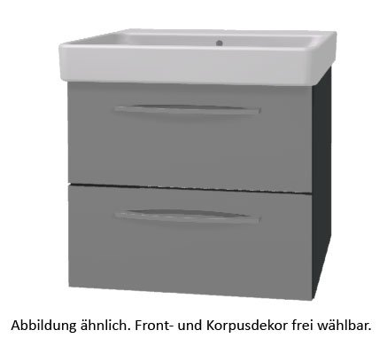PELIPAL Solitaire 9005 Set K146-2L: Keramik Waschtisch Keramag Smyle, Weiß + Unterschrank/Comfort