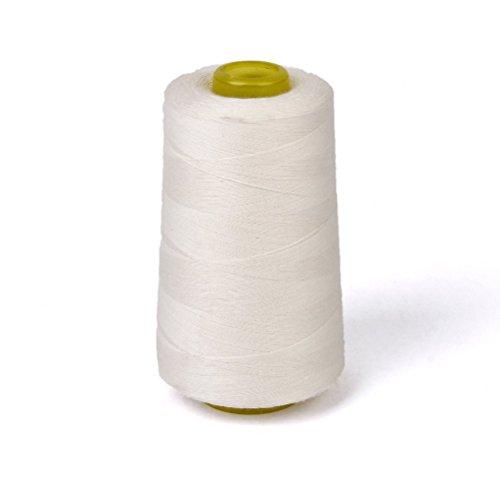 PIXNOR algodón sin blanquear hilo para máquina de coser (blanco)