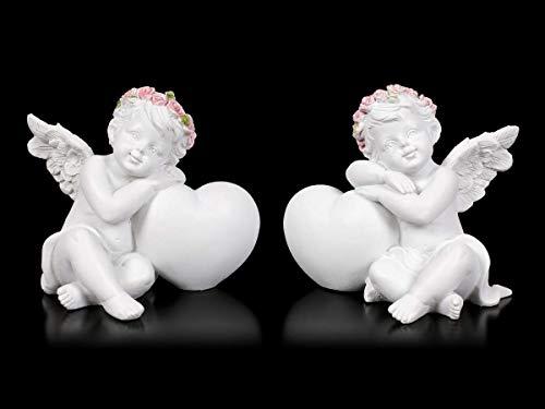 Engel Fantasy Figuren - Putten mit Herz - 2er Set | Elfe, Fee, Skulptur, Statue, Schutz-Engel, H 7+7,5 cm