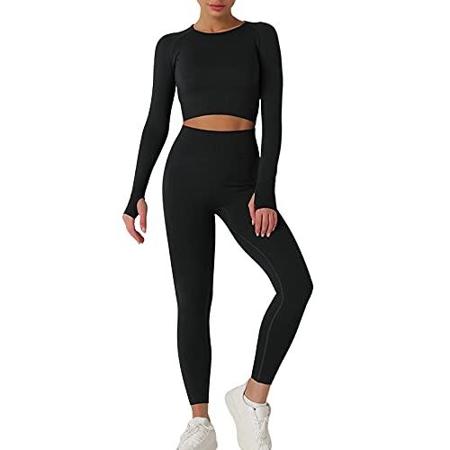 Vertvie Conjunto de 2 piezas sin costuras de punto de manga larga pantalones de cintura alta para yoga, Negro, S