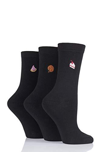 Sock Shop Damen Wild Feet Socken mit eingestickten Tieren Packung mit 3 (Kuchen, 36-40)