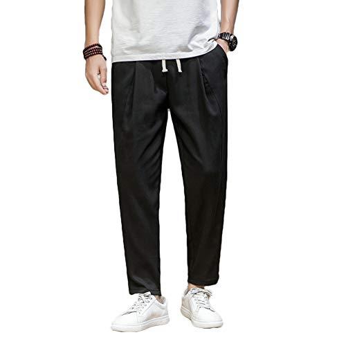 HUAZONG Pantalon de sport ample pour homme, pour la gym, la course à pied, l'entraînement, le jogging avec poches - Noir - M