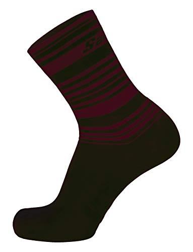 Santini Calcetines Primaloft Medianos para Hombre, Hombre, Calcetines, CAS3621XS, negro /rojo, XS