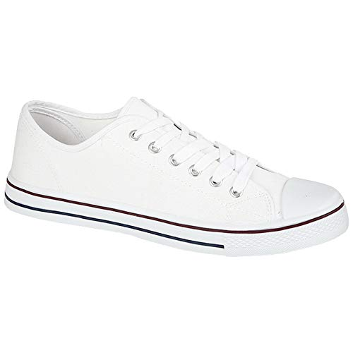 Zapatos de lona para hombre, estilo casual, con cordones, retro, para gimnasio, béisbol, deportes, patinaje, zapatillas ligeras, de moda, clásicas, alpargatas, color Blanco, talla 44 EU