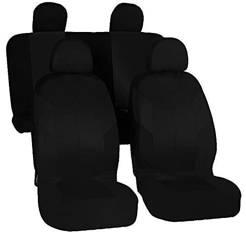 Veshow Juego completo de protectores de asientos de coche para accesorios de automoción interior - compatible con airbag, 4PCS-negro