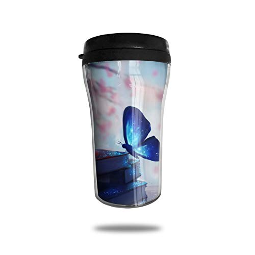 OUYouDeFangA - Taza de café con diseño de Mariposa Azul y Libro de Viaje, con impresión en 3D, Taza de té, Taza de Agua aislada para Beber con Tapa, 250 ml