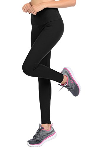 VIV Collection Regular Size Full Length Solid Brushed Yoga Waistband Leggings (Black)