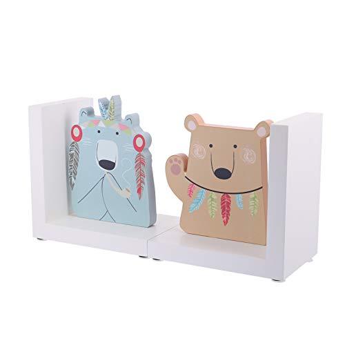 VOSAREA Safari Tiere Holzbär Buchstützen Kinder Buch Stopper für Kinder Phantasie Inspirierende Bücherregal Ornament Stil 2