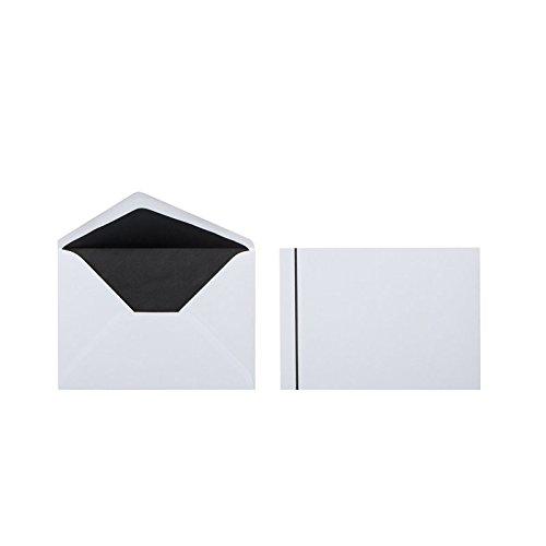 Trauerbriefumschläge, Kuverts mit schwarzem 2 mm Streifen und Innenfutter im Format B6 (125 x 176 mm), Grammatur: 100 g/m², Farbe: Weiß, 25 Stück