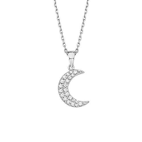 Amor Kette mit Anhänger für Damen, Sterling Silber 925, Zirkonia Mond
