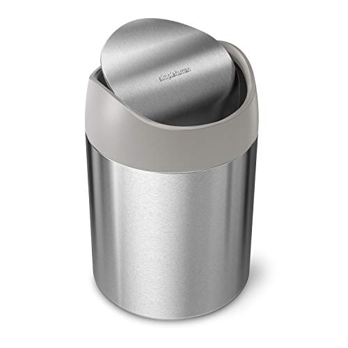 simplehuman 1.5 Liter / 0.4 Gallon Countertop Trash Can, Brushed Stainless Steel