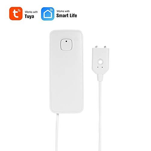 OWSOO Wasserlecksensor WiFi Wasserlecksuchgerät Alarm, Wasserstand Überlaufalarm Tuya Smart Life App Fernbedienung Kompatibel mit Alexa Google Home für die Sicherheit zu Hause