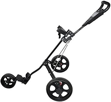 WSVULLD Trolley de Golf Push Cart Carrito-Carro-Bolsa-Carrier Paraguas-Stand Golf-Trolley Plegable 3-Wheels Golf Trolleys...